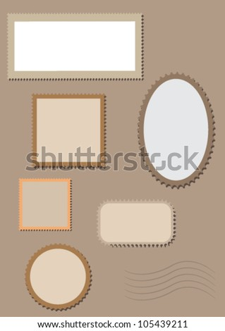 Blank postage stamps  collection isolated. Vector - stock vector