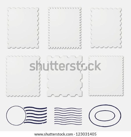 Blank postage stamps frames - stock vector