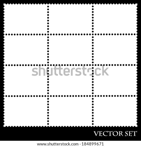Blank postage stamps in white color isolated on  black background. vector illustration - stock vector