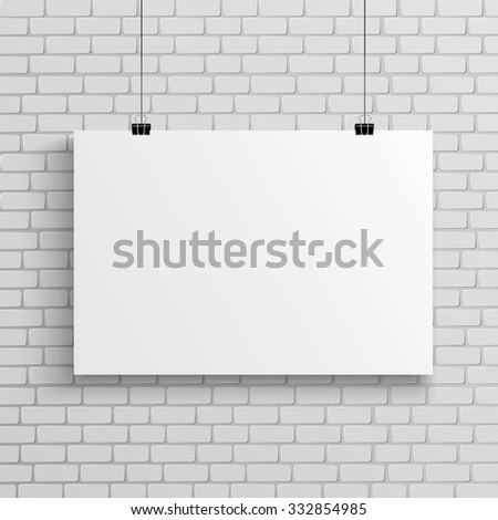 Blank poster on white brick wall, mock up - stock vector