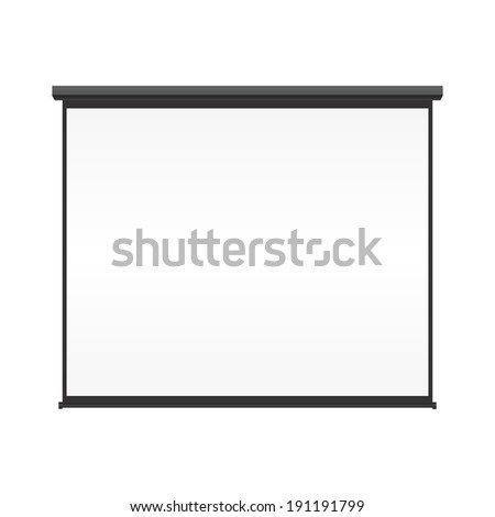 Blank projection screen vector on isolated white background - stock vector