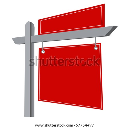 Blank Real Estate Sign Isolated on a White Background. vector file available. - stock vector