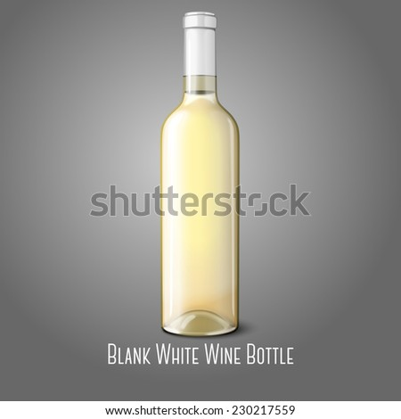 Blank realistic bottle for white wine isolated on grey background with place for your design and branding. Vector - stock vector