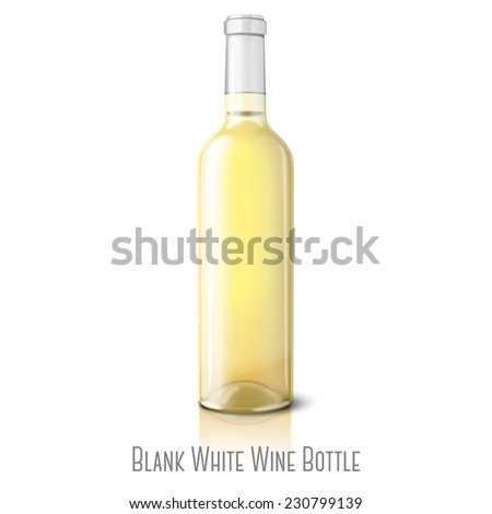 Blank realistic bottle for white wine isolated on white background with reflection and place for your design and branding. Vector - stock vector