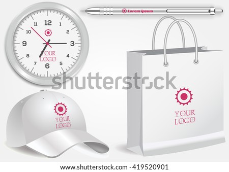 Blank realistic clock, shopping bag, white pen and baseball cap isolated on white vector. Display Mock up for corporate identity and promotion objects - stock vector