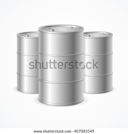 Blank Realistic Oil Barrel Drums. Vector illustration - stock vector