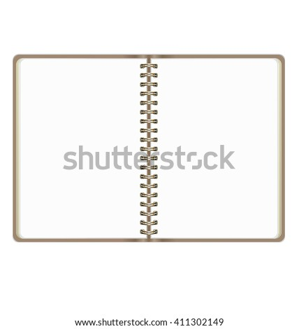 Blank Realistic Open Notebook Isolated On White Background - stock vector