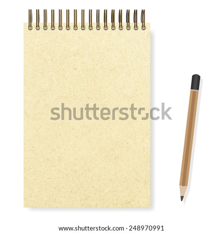 blank realistic spiral notepad notebook and pencil vector - stock vector