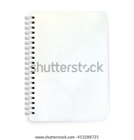 Blank realistic spiral notepad notebook isolated on white. EPS 10 vector file included - stock vector