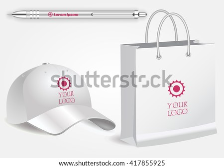Blank realistic spiral notepad notebook, white pen and baseball cap isolated on white vector. Display Mock up for corporate identity and promotion objects - stock vector