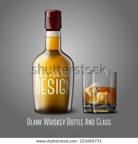Blank realistic whiskey bottle with glass of whiskey and ice, isolated on grey background with place for your design and branding. Vector - stock vector