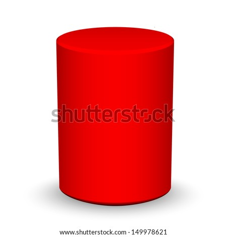 Blank red cylinder on white background  - stock vector