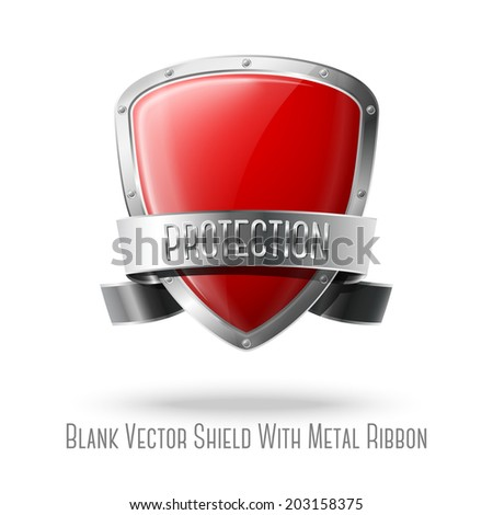 Blank red realistic glossy protection shield with silver ribbon and border isolated on grey background with place for your design and branding. Vector - stock vector