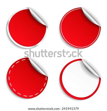 Blank red round stickers with curl, vector eps10 illustration - stock vector