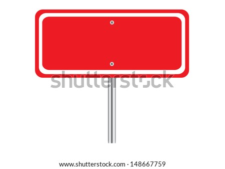 Blank Red Traffic Road Sign on White. Vector - stock vector