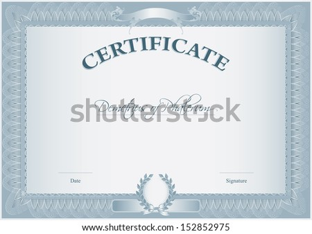 Blank Retro Certificate Template which can be issued after the completion of any course by educational institutions or awarded by businesses to acknowledge exemplary performance. - stock vector