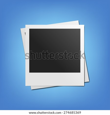 blank retro photo frame - stock vector