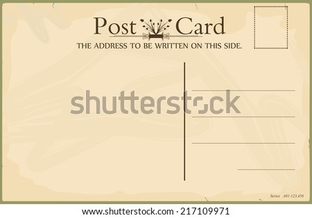 Blank reverse of vintage postcard. Standard size aspect ratio. Vector. No gradients.
