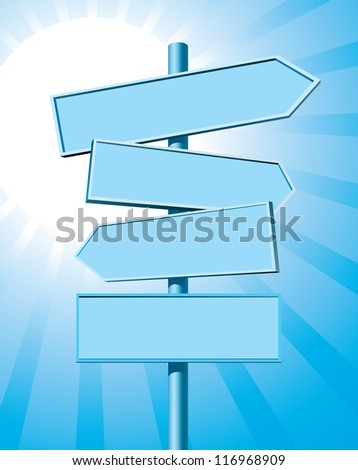 Blank road sign on summer backround - stock vector