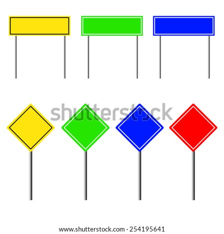 Blank road signs with stand isolated on a white background, illustration. - stock vector