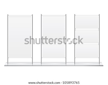 Blank roll up banner display vector - stock vector