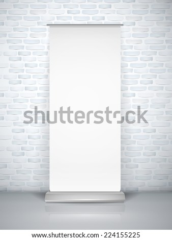 blank roll up banner isolated over brick wall - stock vector
