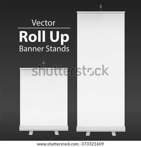 Blank Roll Up Banner Stands. Trade show booth white and blank. 3d vector illustration on dark background. Template mockup for your expo design. - stock vector