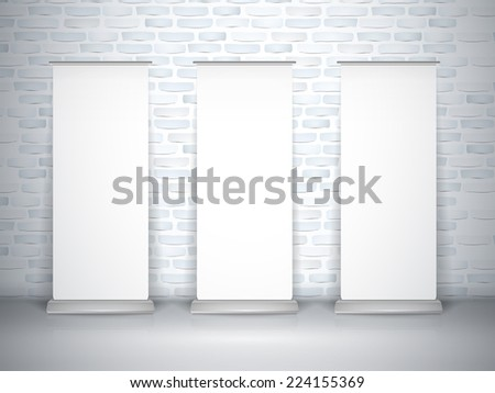blank roll up banners set isolated over brick wall - stock vector