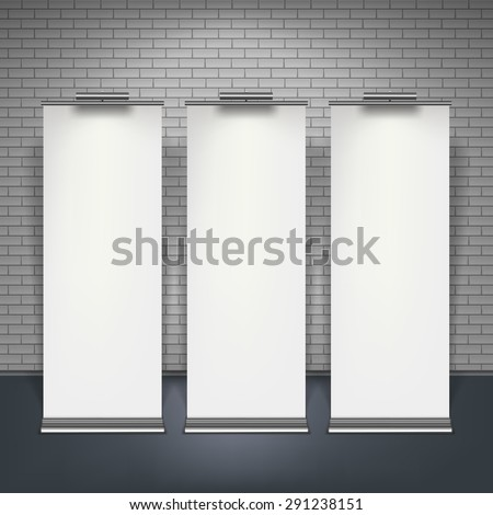 Blank roll up banners set isolated over brick wall, vector illustration. - stock vector