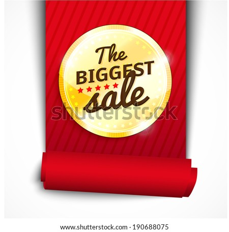 Blank round polished gold metal badge with red ribbon and rolled side on light background. Vector illustration. The Biggest Sale - stock vector