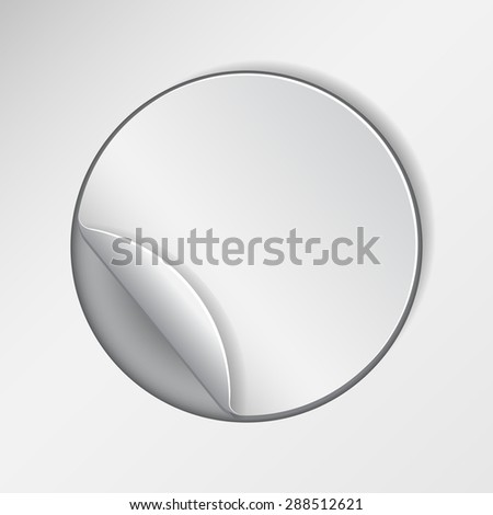 Blank, round promotional sticker, clipped in white paper.  Vector illustration - stock vector