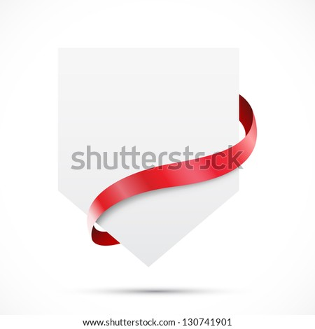 Blank sale tag with red ribbon