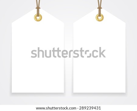 Blank sale tags mock up set. Hang tag with a string. Shopping badge with place for price and discount captions. Clearance sale template. Vector illustration. - stock vector