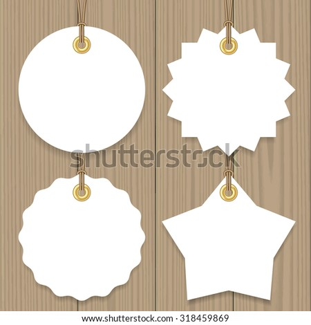 Blank sale tags mock up set. Hang tags with a string on wooden background. Round, star and badge shape. Shopping label with place for price and discount captions. Vector illustration. - stock vector