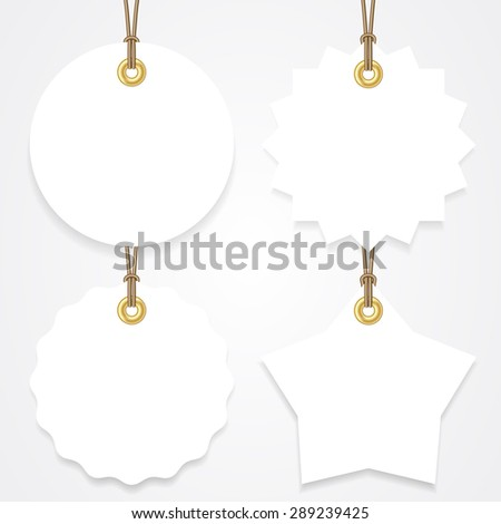 Blank sale tags mock up set. Hang tags with a string. Round, star and badge shape. Shopping label with place for price and discount captions. Clearance sale template. Vector illustration. - stock vector
