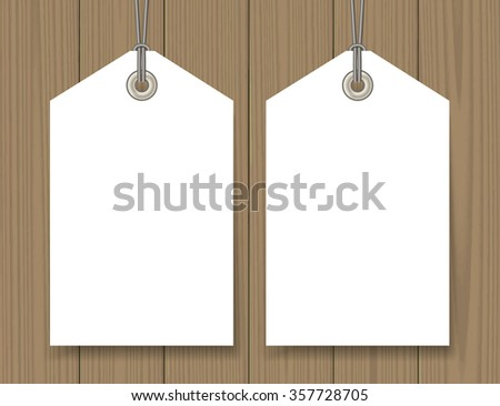 Blank sale tags mock up set on wooden background. Hang tag with a string. Shopping badge with place for price and discount captions. Clearance sale template. Vector illustration. - stock vector