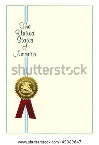 Blank scientific patent with a medal. - stock vector