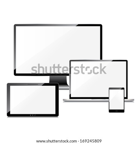 Blank screens set, isolated on white background - stock vector