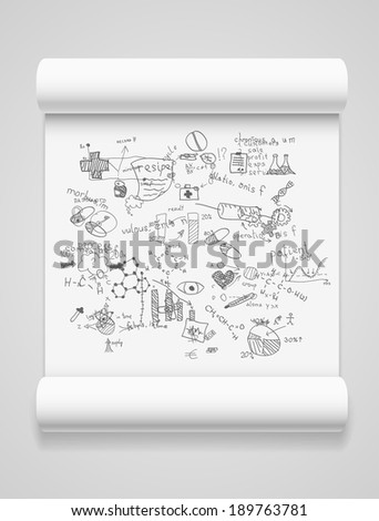 Blank scrolls of white paper - stock vector