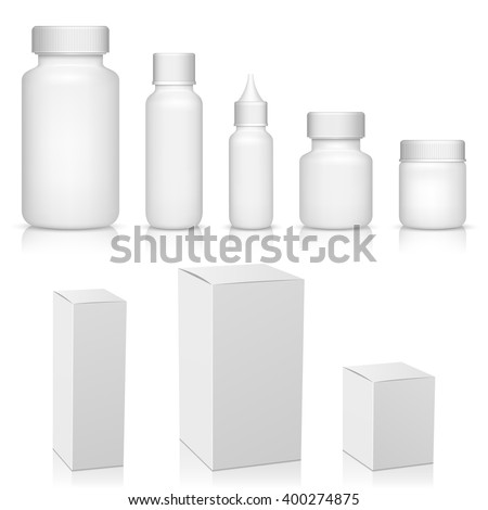Blank set of plastic packaging bottles with box - stock vector