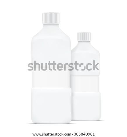 Blank shampoo bottles isolated on white background - stock vector