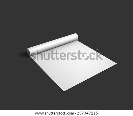 Blank sheet mockup with page curl and shadow. Vector Illustration EPS10. - stock vector
