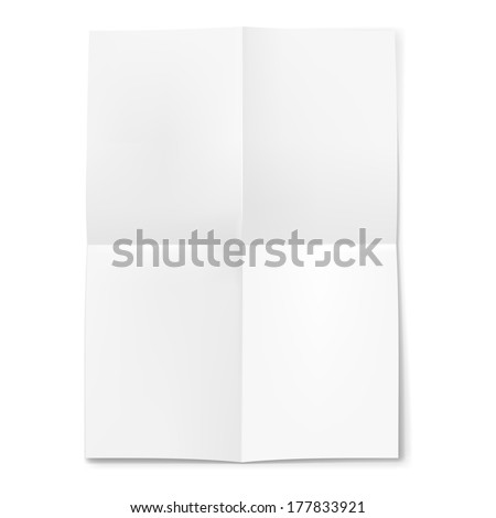 Blank sheet of paper folded in four on white background - stock vector