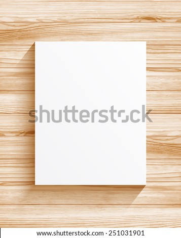 Blank sheet of paper on wood texture background - stock vector
