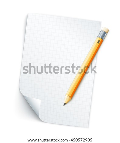 Blank sheet of paper with grid and pencil. Eps10 vector illustration isolated on white background