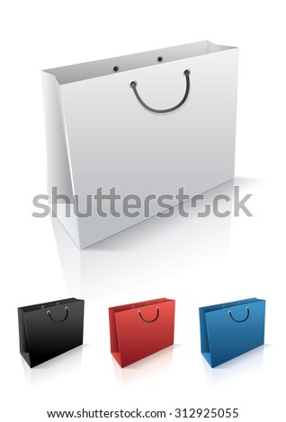 Blank shopping bags for your design and presentations. Add your own label or change the color. - stock vector