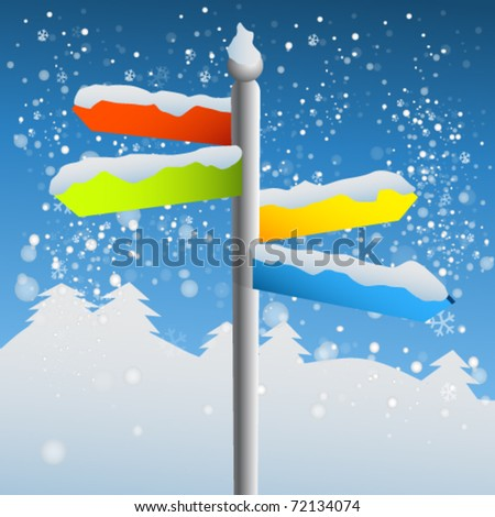 blank sign post on snowy day - stock vector