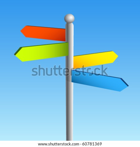 blank sign post vector - stock vector