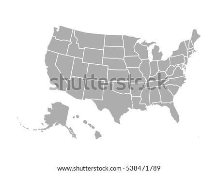 Blank Similar Usa Map Isolated On Stock Vector - Blank usa map