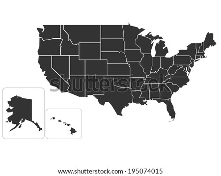 Blank simplified map of USA - stock vector